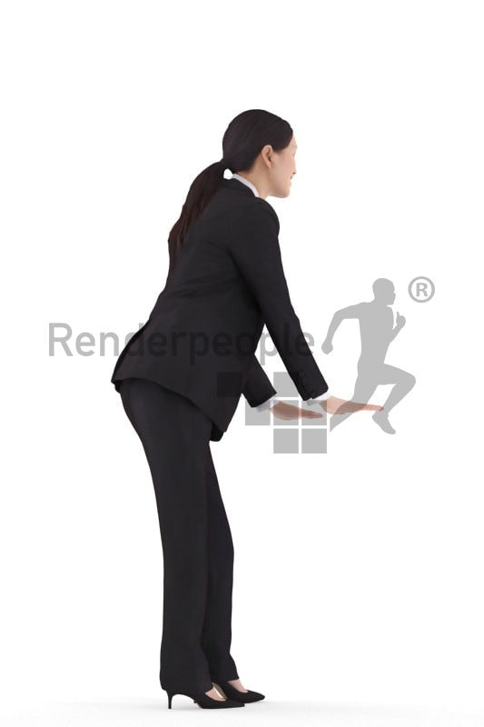 Scanned 3D People model for visualization – asian woman in business clothing, leaning on something and smiling