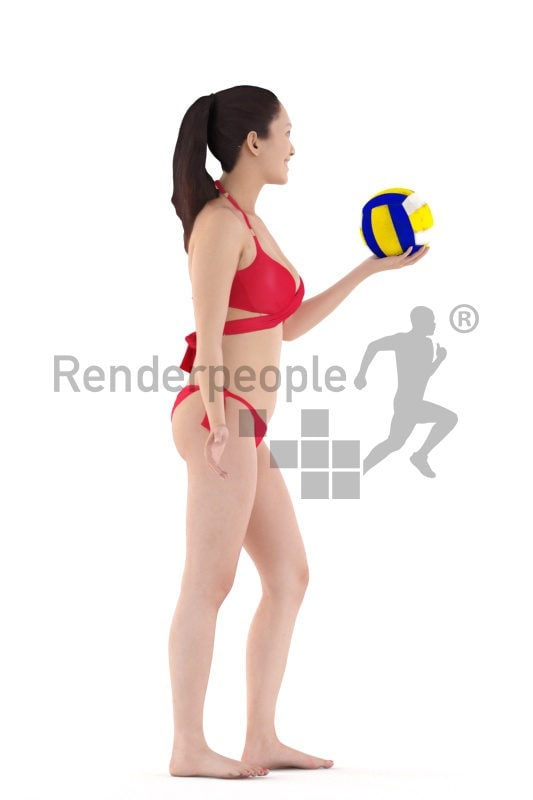 Posed 3D People model by Renderpeople – asian woman in bikini, playing beach volleyball