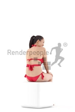Posed 3D People model by Renderpeople – asian woman sitting in bikini