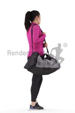 Posed 3D People model for renderings – asian woman in gym outfit, walking and carrying her sports bag