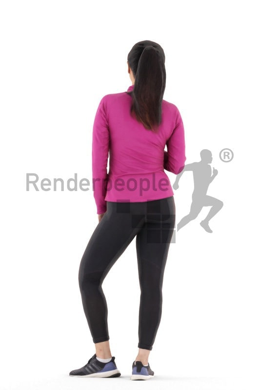 Posed 3D People model for renderings – asian woman in gym outfit, standing and drinking from a bottle