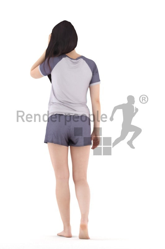 3D People model for 3ds Max and Sketch Up – asian woman in shorty sleepwear, walking at home