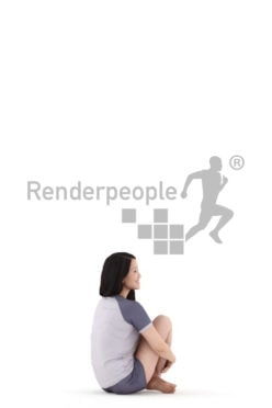 Posed 3D People model for renderings – asian woman in shorty pyjama, sitting and smiling