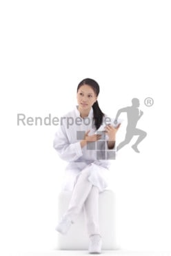 3d people business, asian 3d woman walking and holding an umbrella