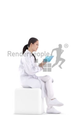 3d people healthcare, asian 3d woman sitting and talking