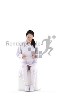 Scanned human 3D model by Renderpeople – asian woman in doctors outfit,sitting and eating