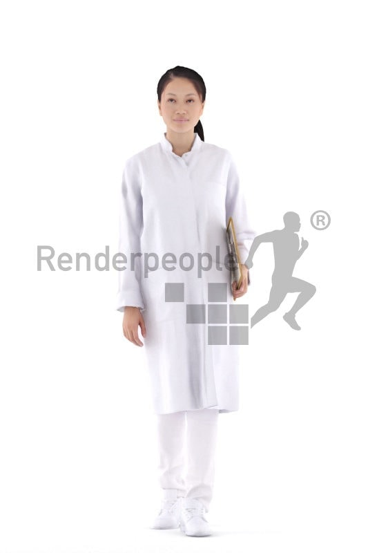 Scanned human 3D model by Renderpeople – asian woman in doctors outfit, walking and holding a clipboard