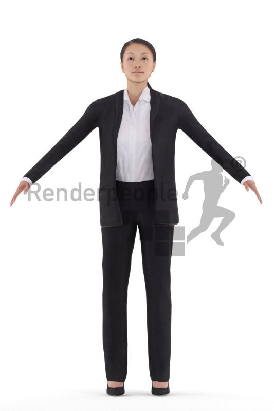 Rigged human 3D model by Renderpeople – asian woman in business suit