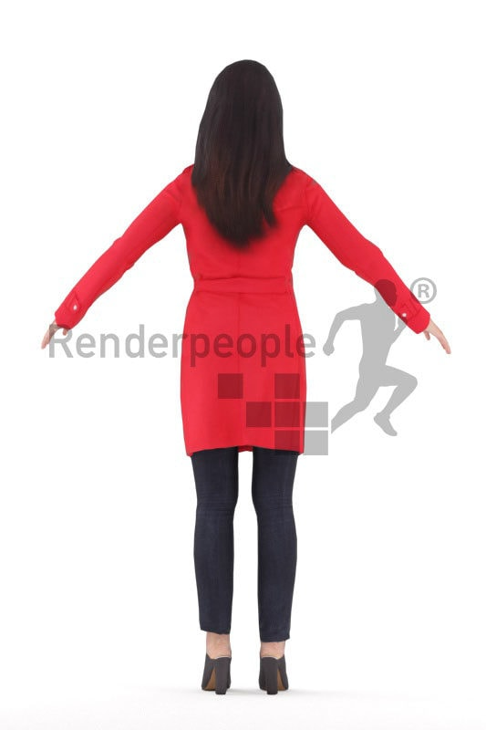 Rigged 3D People model for Maya and 3ds Max – asian woman in red coat