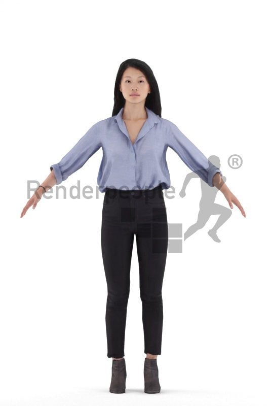 3d people smart casual, 3d asian woman rigged