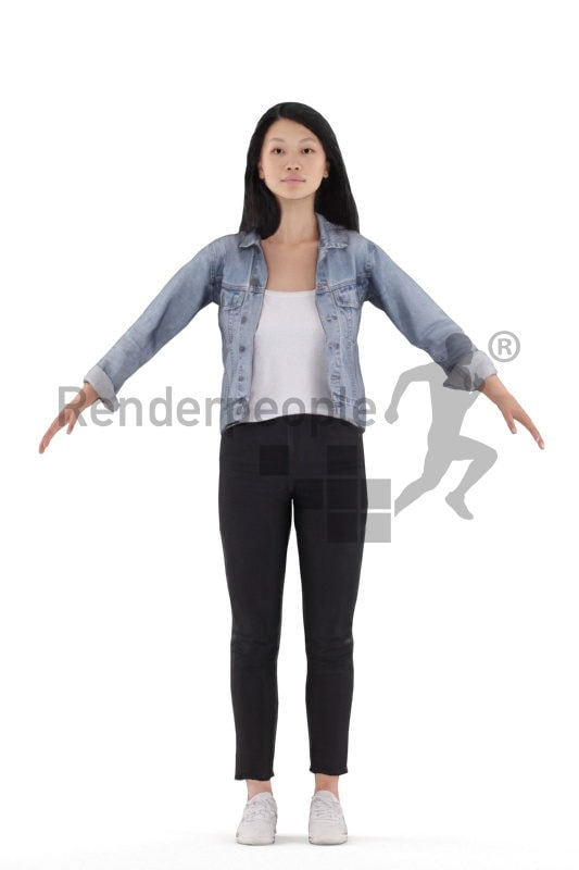 Rigged 3D People model for Maya and 3ds Max – asian woman in daily outfit, casual