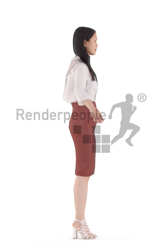 Rigged human 3D model by Renderpeople – asian female in business look