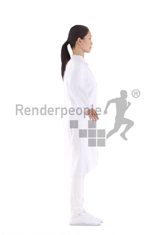 Rigged 3D People model for Maya and Cinema 4D – Asian woman in white coat