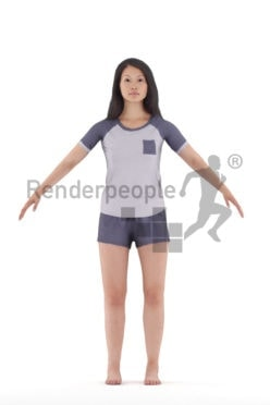 Rigged 3D People model for Maya and 3ds Max – Asian woman in sleeping clothes