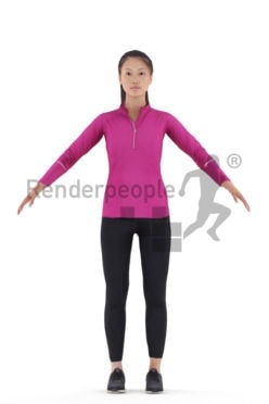 Rigged 3D People model for Maya and Cinema 4D – Asian woman in running outfit, sports