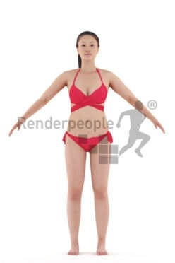 Rigged human 3D model by Renderpeople – asian woman in red bikini