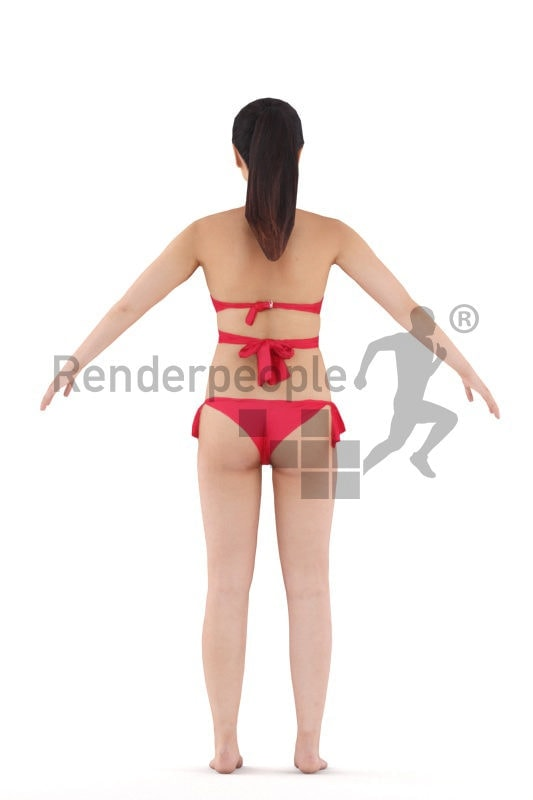 Rigged human 3D model by Renderpeople – asian woman in red bikini