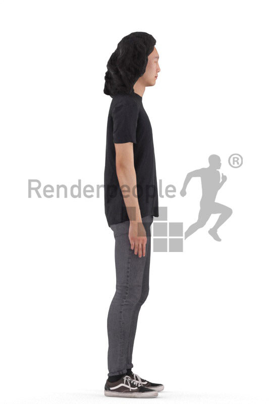 Animated 3D People model for Unreal Engine and Unity – asian man in casual outfit, talking