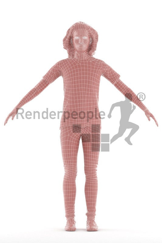 Rigged and retopologized 3D People model – asian male with longer hair, casual
