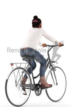 3d people casual, black 3d kid riding a bike