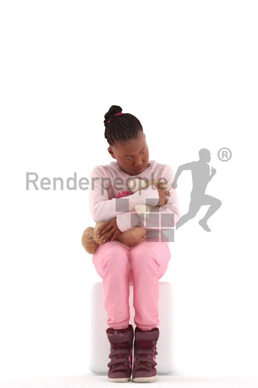 3d people casual, black 3d kid sitting and playing with her teddy