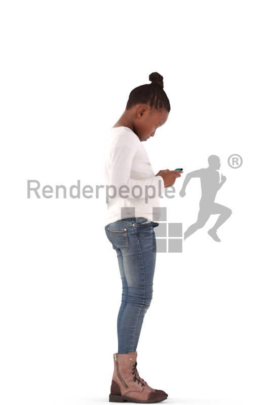 3d people casual, black 3d kid standing and playing with her phone