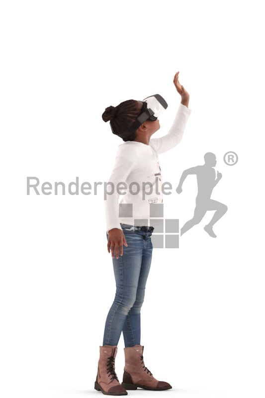 3d people casual, black 3d kid standing and playing vr