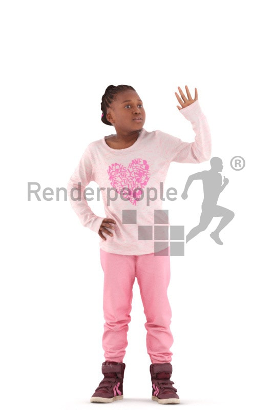 3d people casual, black 3d kid standing and waving