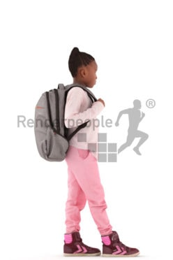 3d people casual, black 3d kid walking