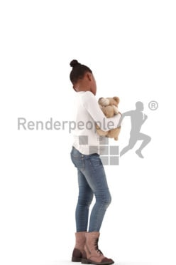 3d people casual, black 3d kid standing and cuddling with her teddy