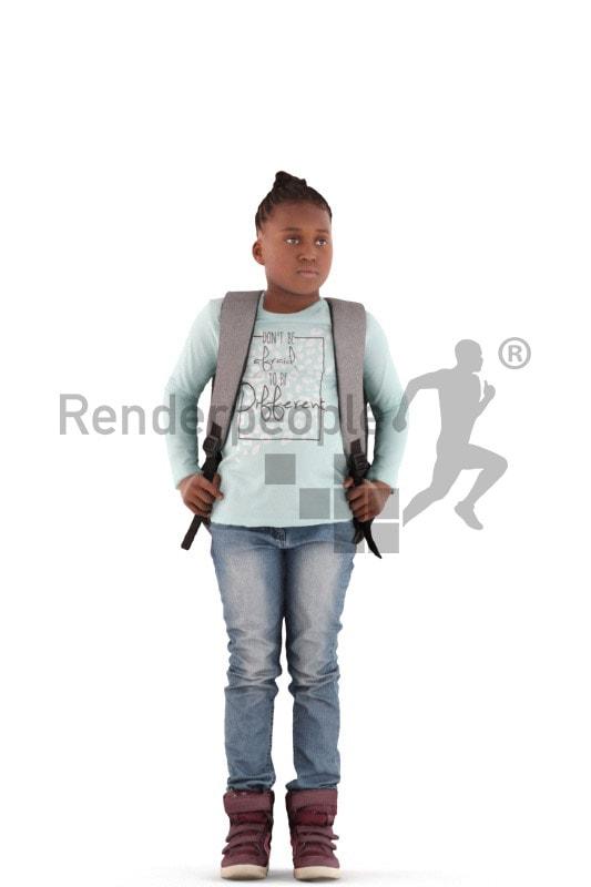 3d people casual, black 3d kid standing