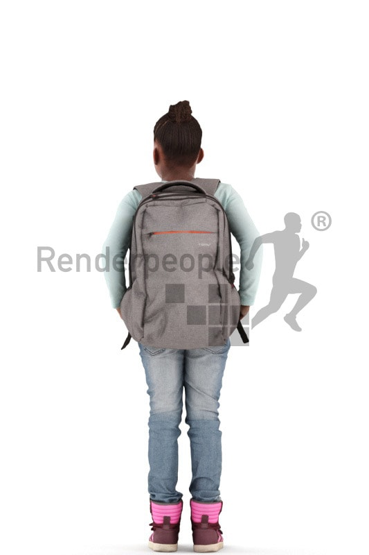 3d people casual, black 3d kid standing