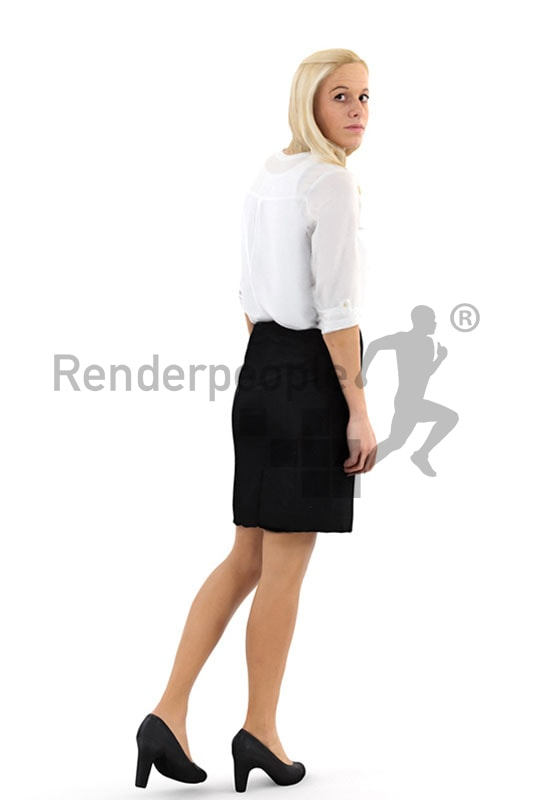 3d people business, white blond 3d woman walking and looking over her shoulder