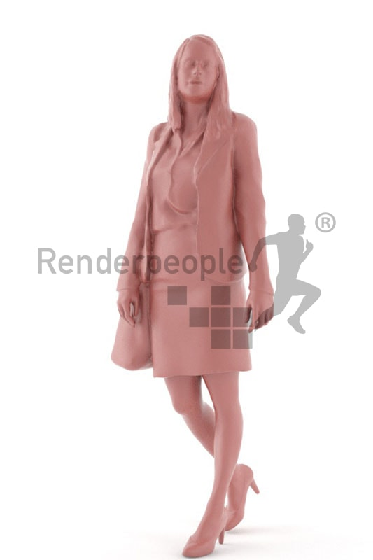 3d people shopping, white blond 3d woman carrying a purse