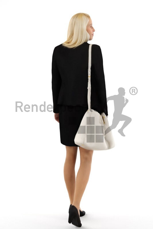 3d people shopping, white blond 3d woman carrying a purse and walking