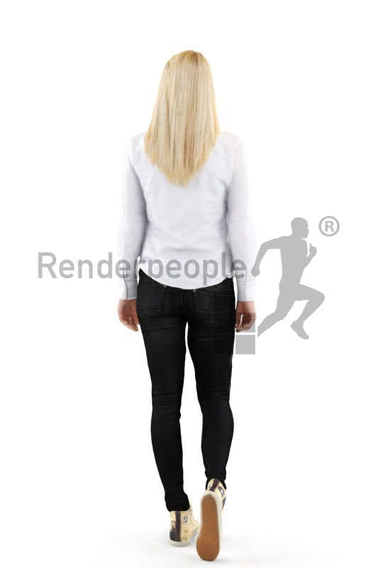 3d people casual, white blond 3d woman walking