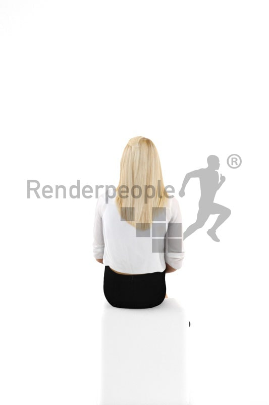 3d people business, white blond 3d woman sitting having her legs crossed