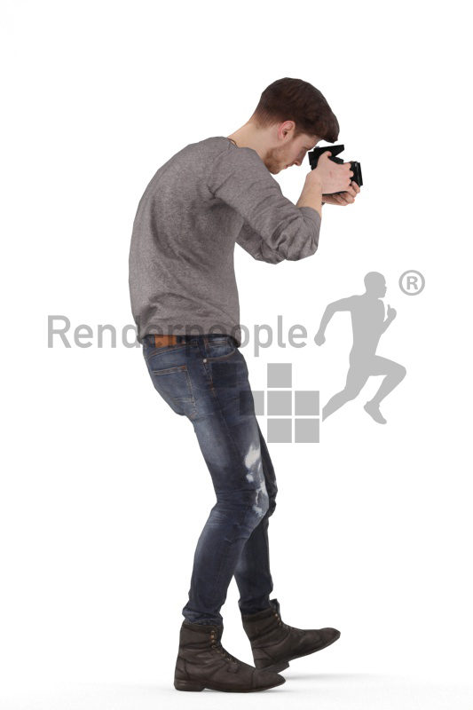Animated 3D People model for visualization – white man, casual, taking pictures