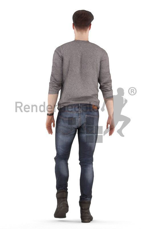 Animated 3D People model for realtime, VR and AR – european male in casual clothes, walking