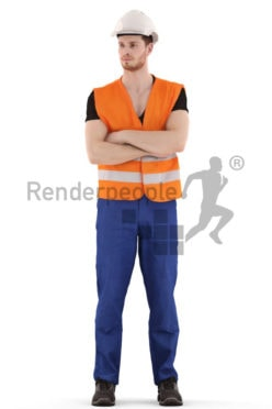 3d people service, 3d worker standing