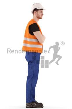 3d people service, 3d worker standing