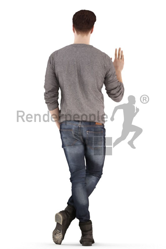 3d people casual, jung man standing and waving