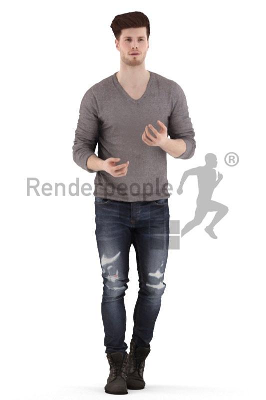 3d people casual, jung man walking