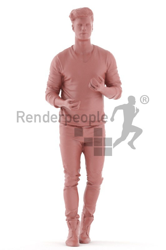 3d people casual, jung man walking
