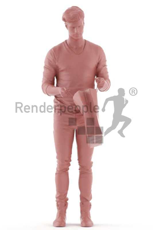 3d people casual, jung man holding a bag