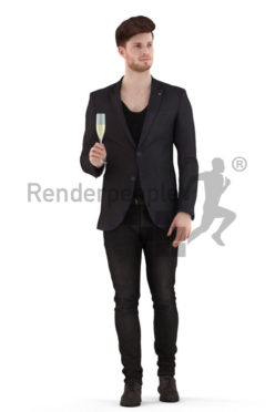 3d people event, jung man walking with a glass in his hand
