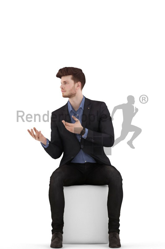 3d people business, young man sitting and arguing