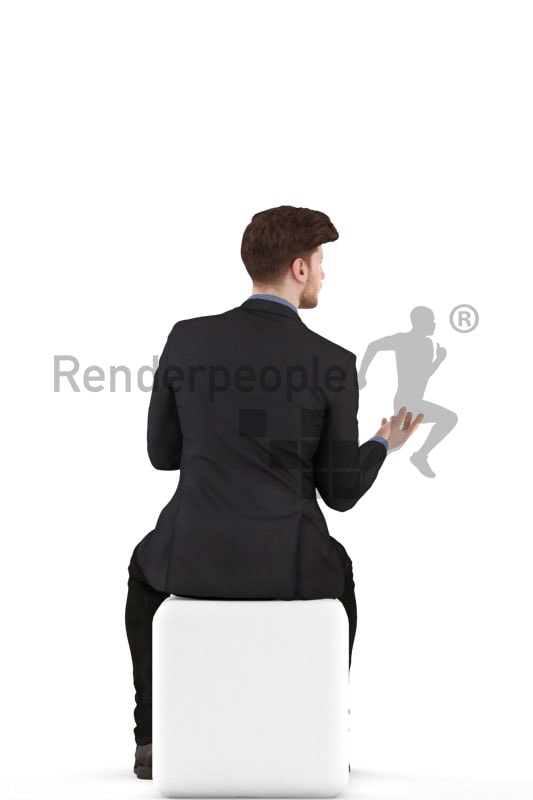 3d people business, jung man sitting and arguing