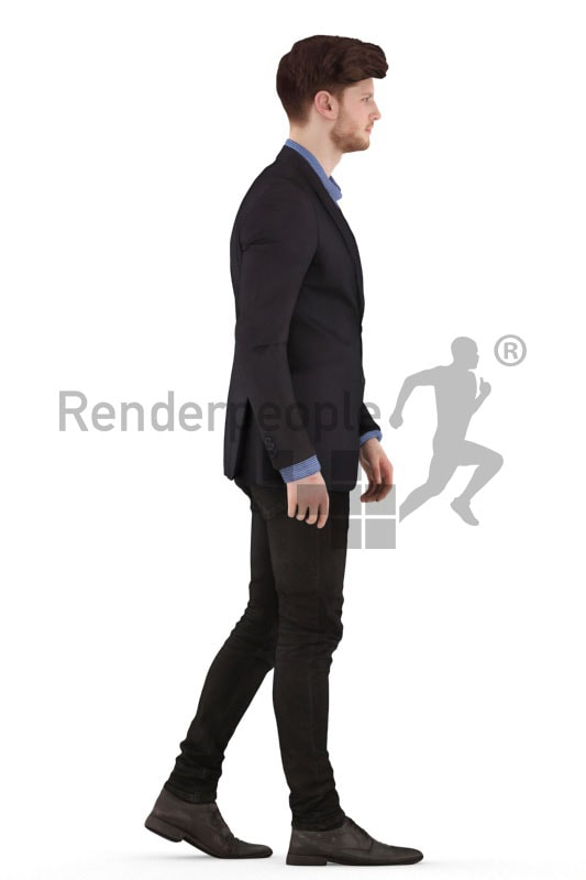 3d people business, jung man walking