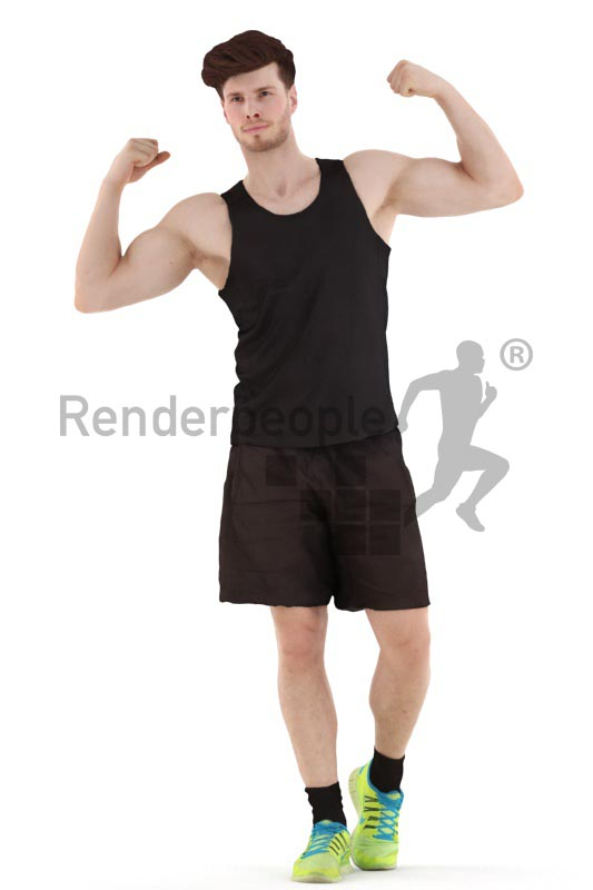 3d people sports, young man standing and posing